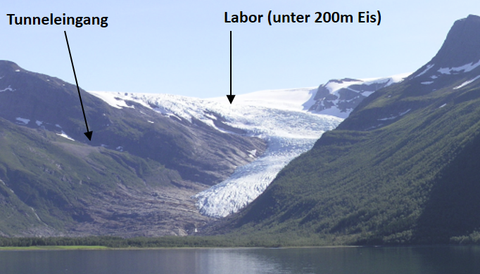 Glacier tongue of the Engabreen seen from Holandsfjord. The arrows indicate the tunnel entrance and the approximate location of the subglacial laboratory (under approx. 200 m of ice). The plateau of the Engabreen reaches a maximum height above sea level o